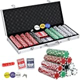 Smartxchoices 500 Poker Chips Set 11.5 Gram Dice Style Casino Poker Chips w/Aluminum Case, Cards, Dices, Blind Button for for Texas Holdem, Blackjack, Gambling