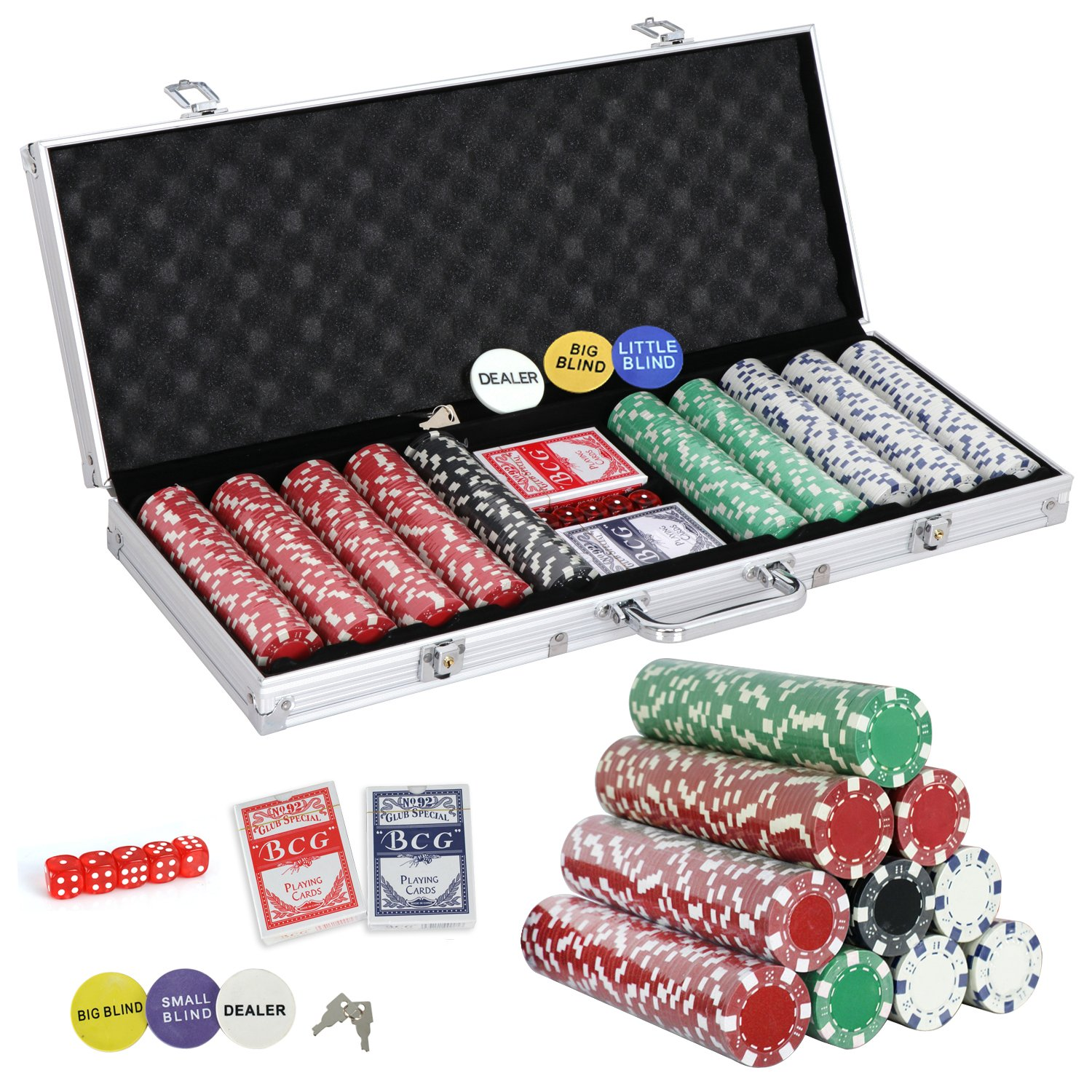 Smartxchoices 500 Poker Chip Set 11.5 Gram Dice Style Clay Casino Poker Chips w/Aluminum Case, Cards, Dices, Blind Button for for Texas Holdem, Blackjack, Gambling by Smartxchoices