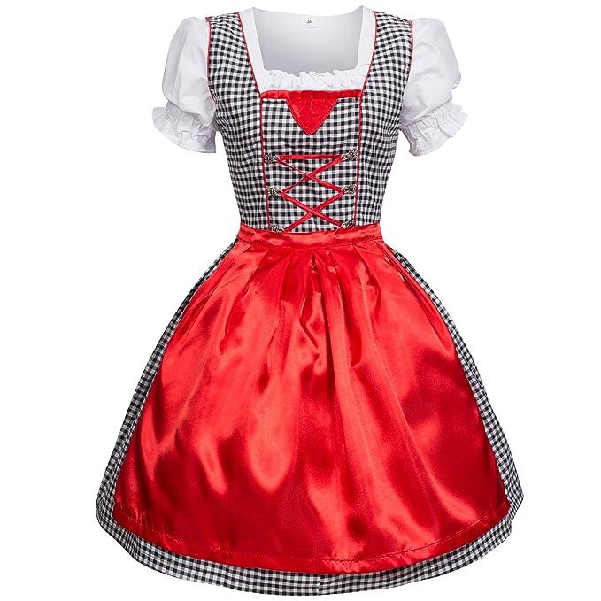 Trachtenkleid Dirndl vestido blusa, falda, 34 – 52 tamaño Cuadros de