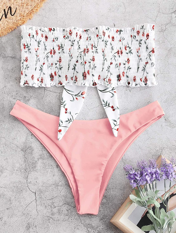 ZAFUL Damen Bandeau Ungef/üttert Gerippter Geknoteter Floral Print Smocked Bikini Set Badeanzug
