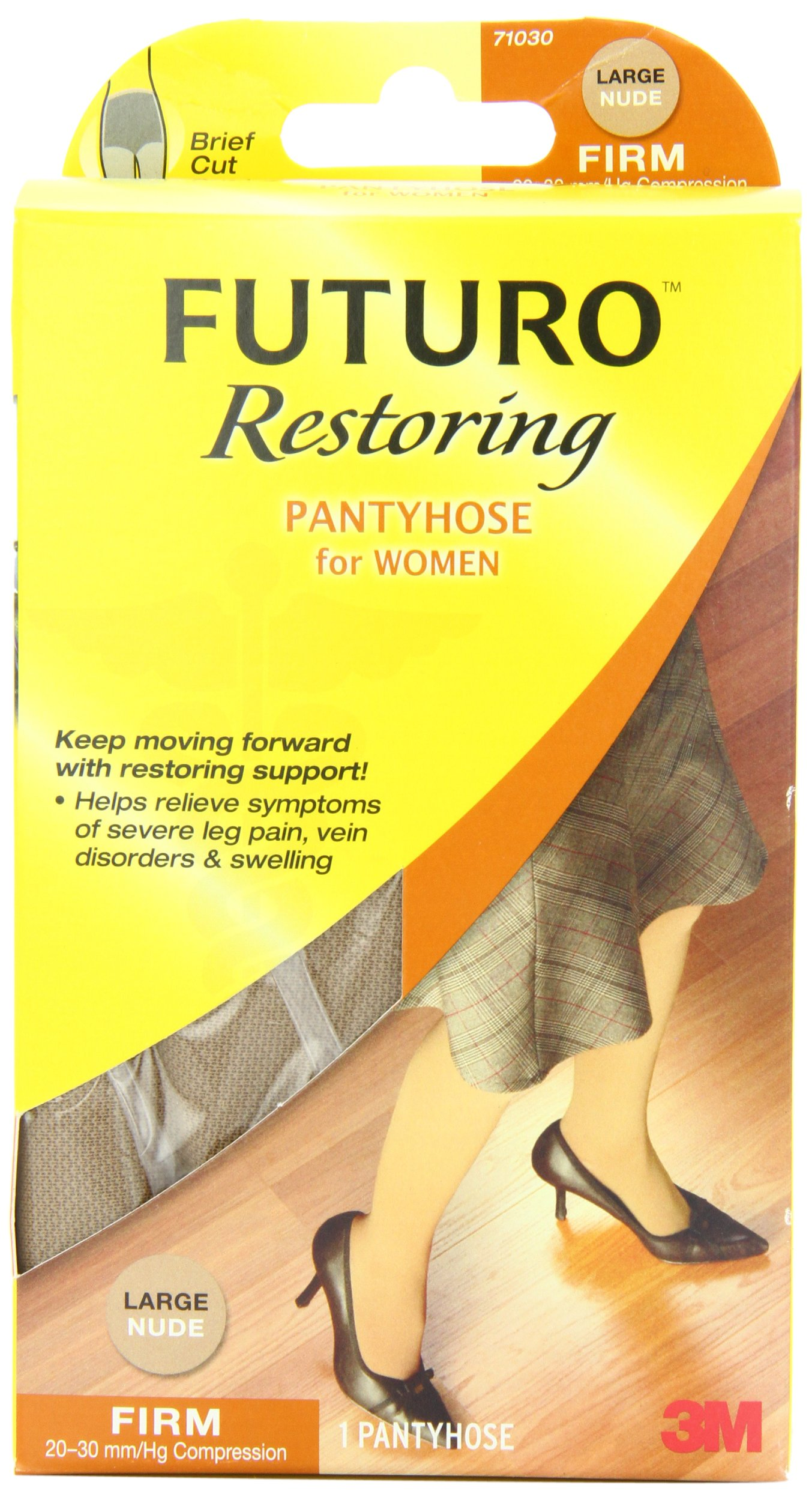 Futuro Restoring Pantyhose for Women, Helps Improve Circulation for Tired Legs, Eases Symptoms of Moderate-to-Severe Varicose Veins, Brief Cut, Large, Nude, Firm Compression by Futuro (Image #1)
