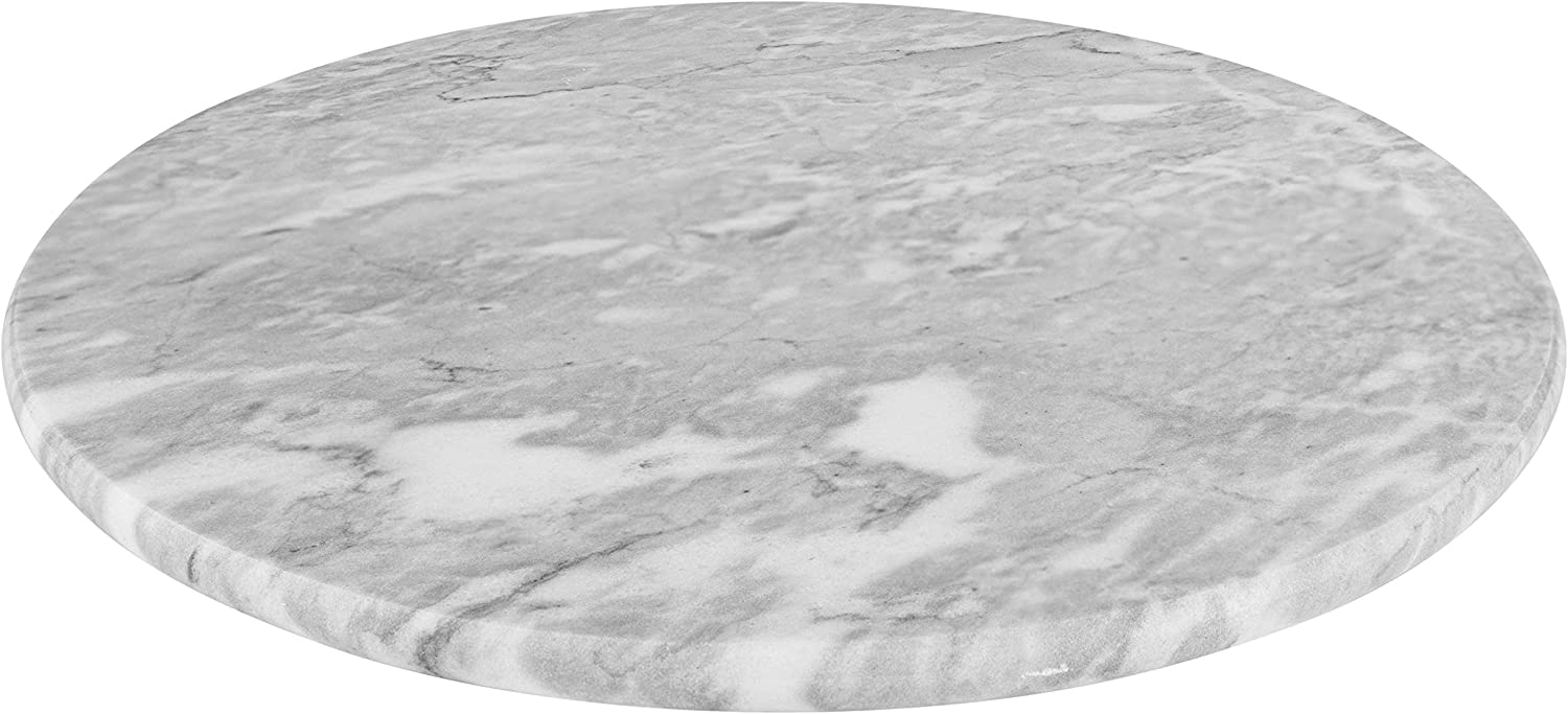 Homeries Marble Round Cheese Tray Board (12 Inches) - White Elegant Serving Platter & Tray for Weddings, Birthdays, Christmas, Bread, Cake, Cheese & Pizza – Smooth Finish & Durable