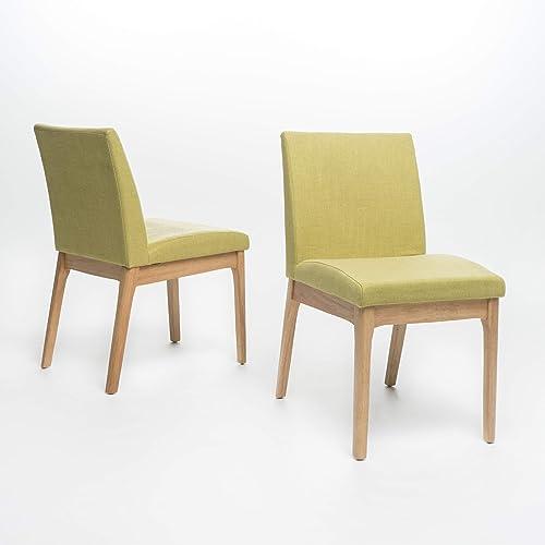 Katherine Mid Century Modern Green Tea Fabric/Oak Finish Dining Chair Set of 2