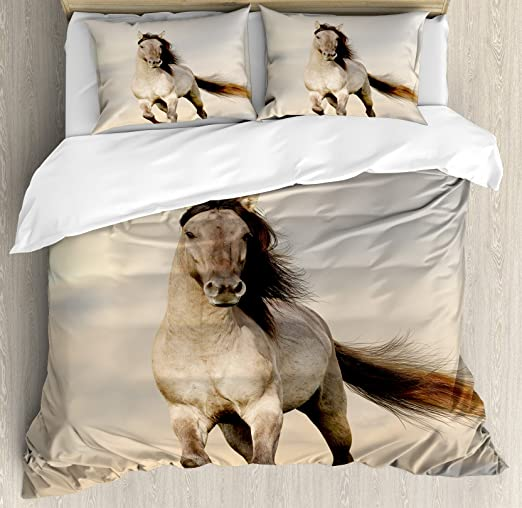 Wild Young Stallion Horse Running At Sunset Male Power Muscular Physique Nobility Photo Biege Ambesonne Horses Duvet Cover Set Twin Size Decorative 2 Piece Bedding Set With 1 Pillow Sham Mimbarschool Com Ng