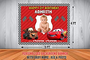WoW Party Studio Personalized Flex McQueen Car Theme Birthday Background Banner 4 X 5 Ft