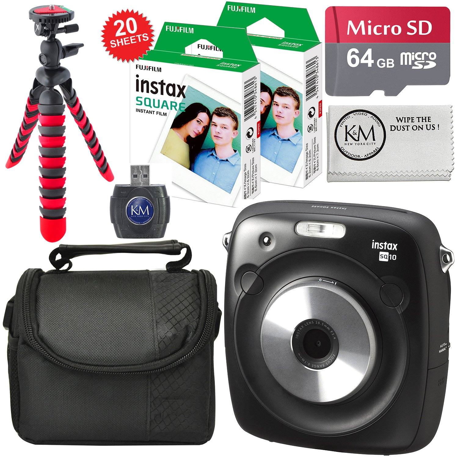 Fujifilm Instax SQUARE SQ10 Hybrid Instant Camera + 64GB Micro SD + Accessory Bundle + Instax Square Film (20 Sheets)