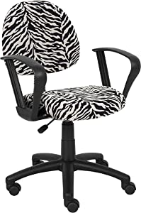 Boss Office Products Perfect Posture Delux Microfiber Task Chair with Loop Arms in Zebra