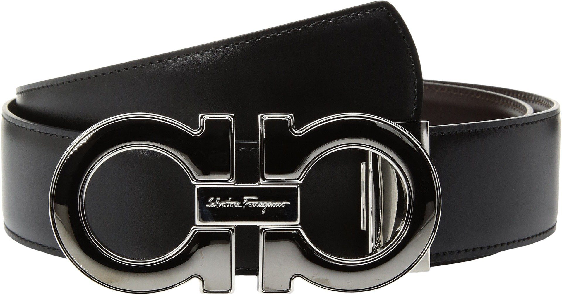 Salvatore Ferragamo  Men's Mini-Big with Metallic Enamel - 679494 Black/Hickory 42