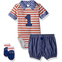 Baby Aspen My First Birthday 3-Piece Dapper Dude Outfit, Onesie with Shorts, Baby Socks, 12-18 Months