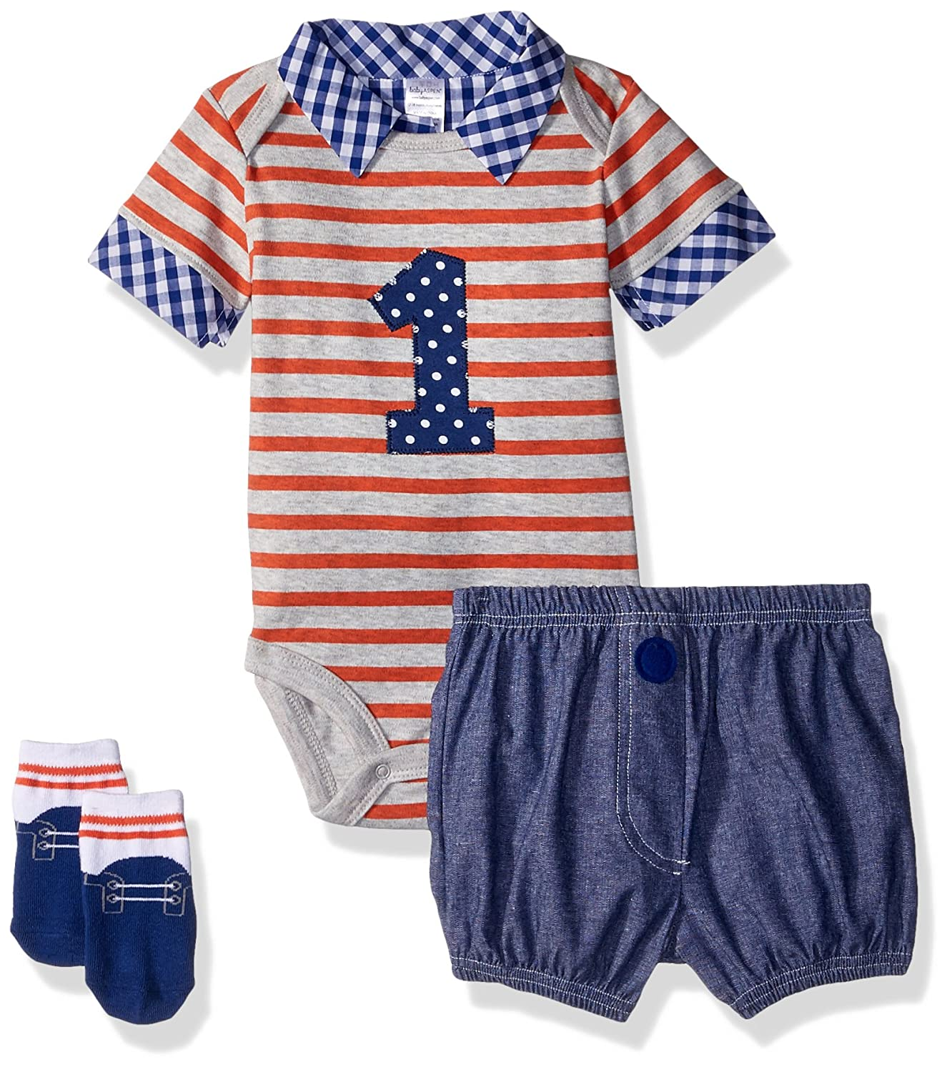 Amazon.com : Baby Aspen My First Birthday 3-Piece Dapper Dude Outfit, Onesie with Shorts, Baby Socks, 12-18 Months : Baby