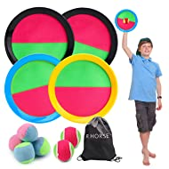 R HORSE Paddle Catch Ball Set Toss and Catch Ball Game Set 4 Hook and Loop Adjustable self-Stick Paddles 6 Balls with Storage Bag for Outdoor Activities (11 Packs)