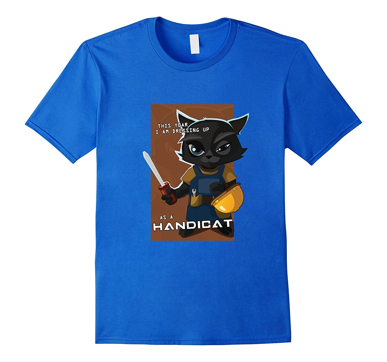 "Funny Cool Unisex Adult ""Handicat"" Halloween Cat Tshirts"