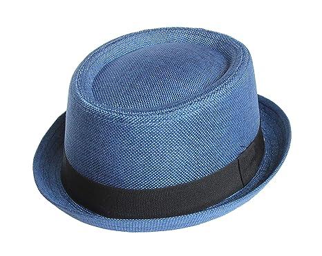f9cf3cd0 Seemeinthat Unisex Men Women Blue Fabric Pork Pie Hat Trilby Fashion  Festival Beach Scooter: Amazon.co.uk: Clothing