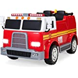 Best Choice Products 12V Kids Fire Engine Truck Ride On Toy Emergency Vehicle w/ 2.4MPH Max Speed, Remote Control, USB Port, 3 Speeds, Water Hose, LED Lights, Realistic Sounds, Intercom - Red