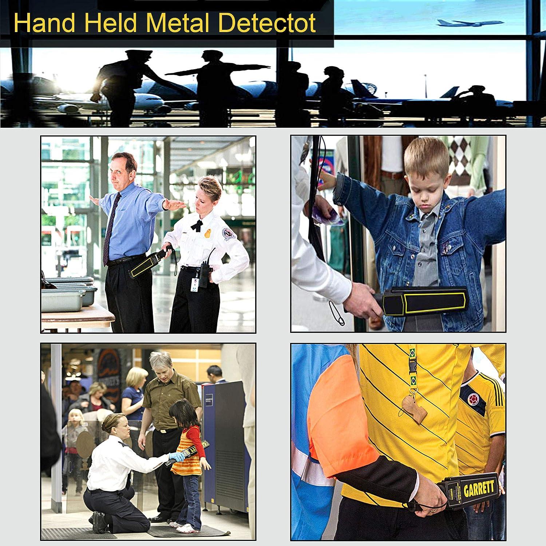 vibraci/ón LED en busca de armas ofensivas control de paquetes y cartas aeropuertos y fronteras MENGS Hand-Held Meral Detector con alarma de zumbador