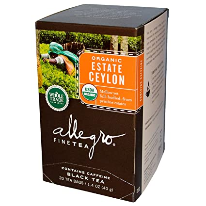 Allegro Fine té, orgánico, té negro, Estate, 20 bolsas de té ...