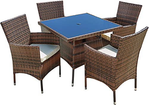 Patiomore Outdoor 5-Piece Set Furniture Square Dining Table and Chairs Washable Cushions,All-Weather Wicker
