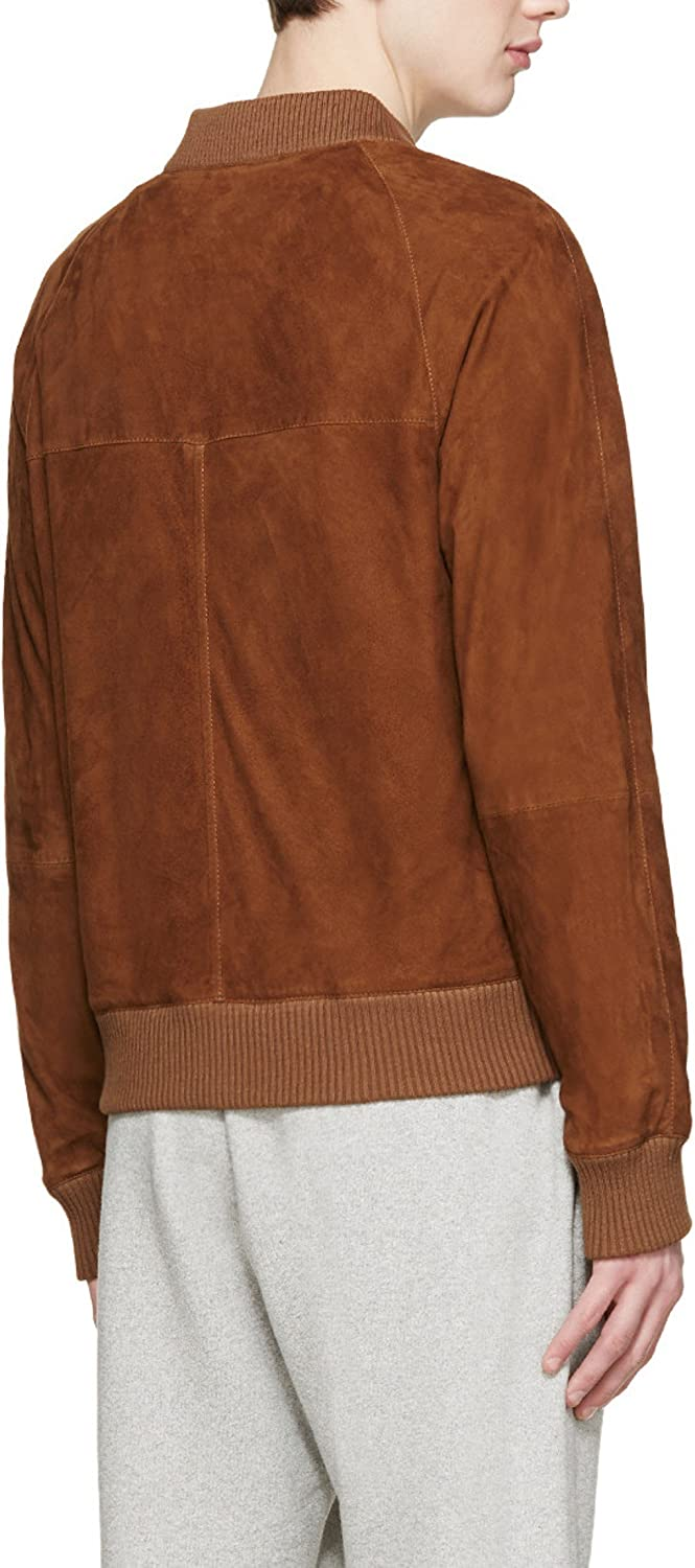World of Leather Short Lambskin Suede Leather Jacket Tan Cognac Bomber
