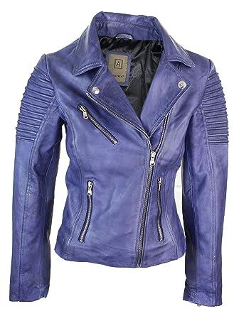 5427df4227eb Veste Perfecto Femme Cuir véritable Bleu Violet Style Biker Coupe cintrée   Amazon.fr  Vêtements et accessoires