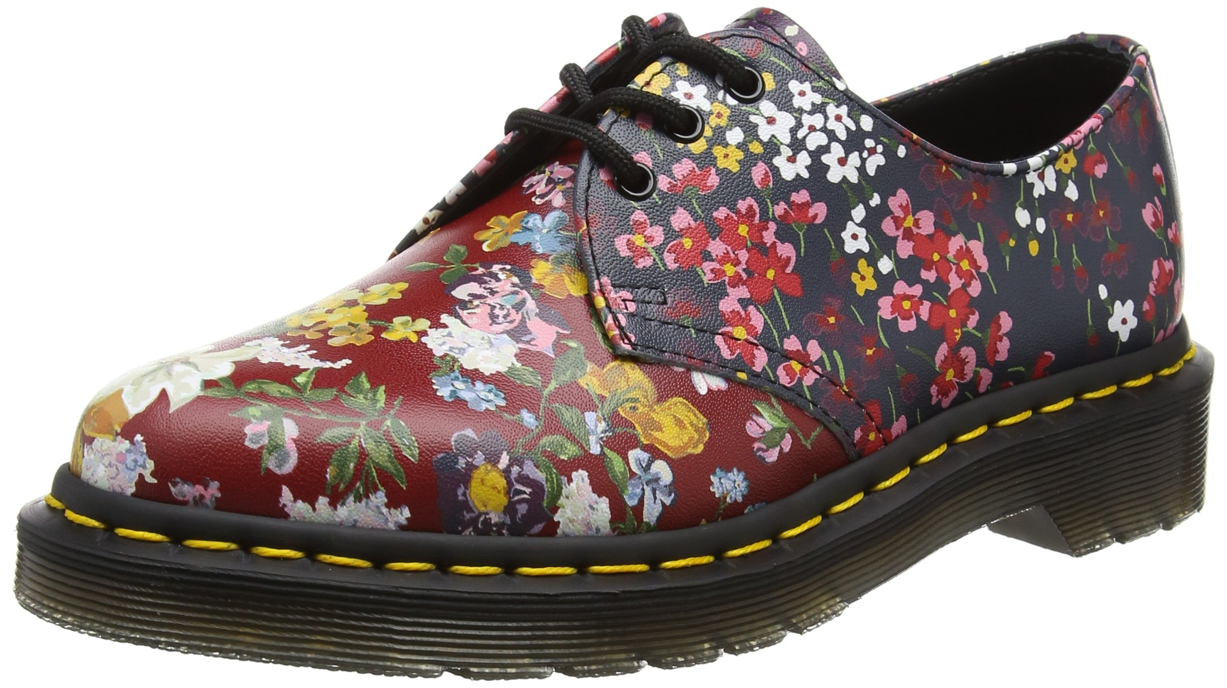Dr. Martens Women's Floral 1461 Air-Cushioned Fashion Oxfords, Multi, Leather, 8 M UK, 10 M US