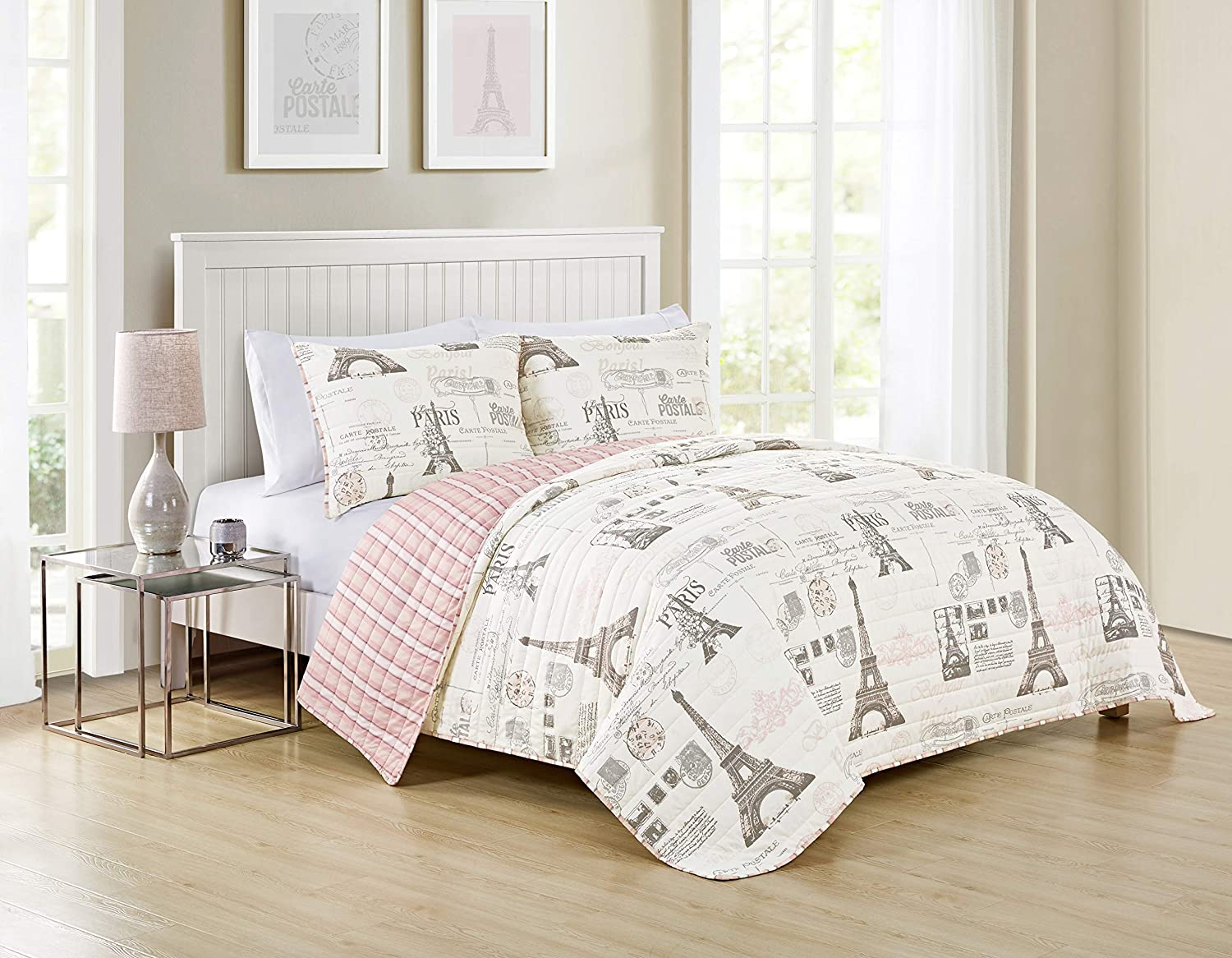 VCNY Home Carte Postal Collection Quilt Set - Ultra-Soft Reversible Coverlet Bedding - Lightweight, Cool, and Breathable Bedspread, Machine Washable, King, Grey