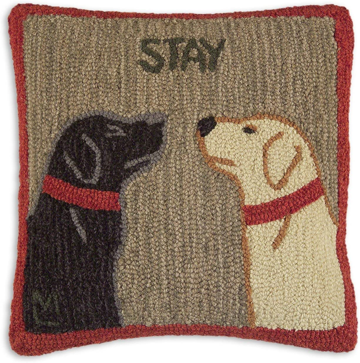 Chandler 4 Corners Artist-Designed Good Dogs Staying Hand-Hooked Wool Decorative Throw Pillow 18 x 18