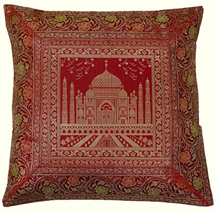 "Amazon.com: 17"" SQ Indian Art seda tela Zari borcade ..."