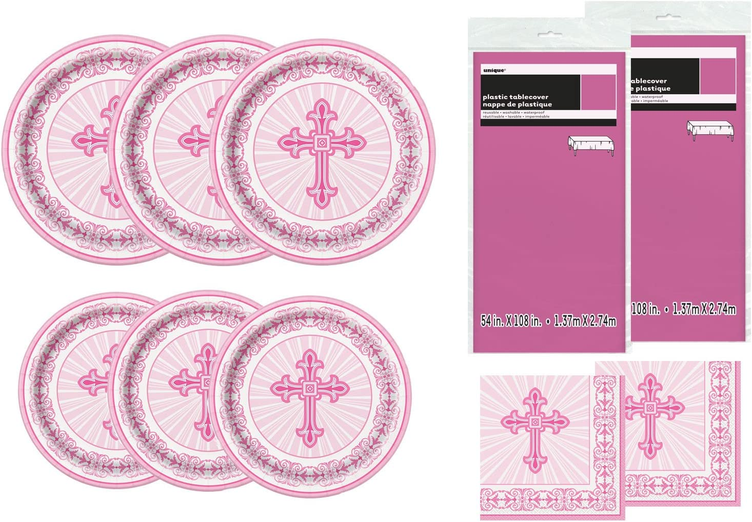 Unique Party Supplies Radiant Cross Pink Religious Deluxe Bundle for 24 Plate Napkins & Tablecovers