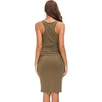 e3c0944e061 Amazon.com  Missufe Women s Ruched Bodycon Sundress Midi Fitted Casual Dress  (Army Green