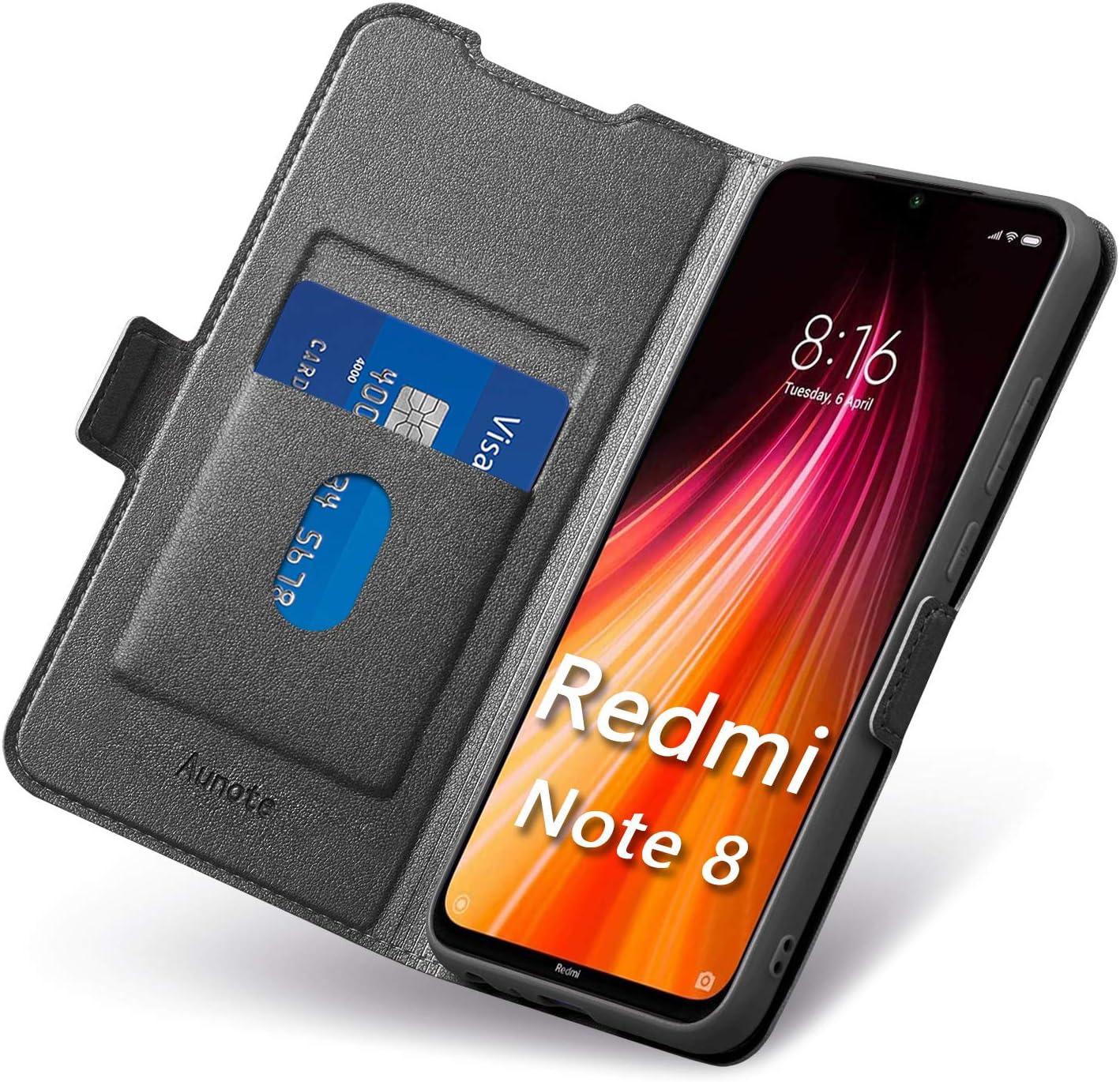 Funda Redmi Note 8, Funda Xiaomi Note 8 Libro, Carcasa Mi Note8 con Cierre Magnético, Tarjetero y Suporte, Cubierta Plegable Cartera, Flip Cover Case, Étui Piel Protección. Negro