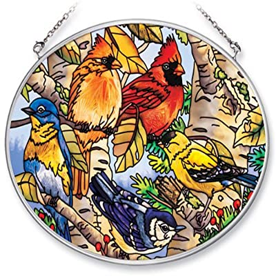 Amia 6434 Medium Oval Suncatcher with Songbird Design, Hand-painted Glass, 7-Inch W by 5-1/2-Inch L : Garden & Outdoor