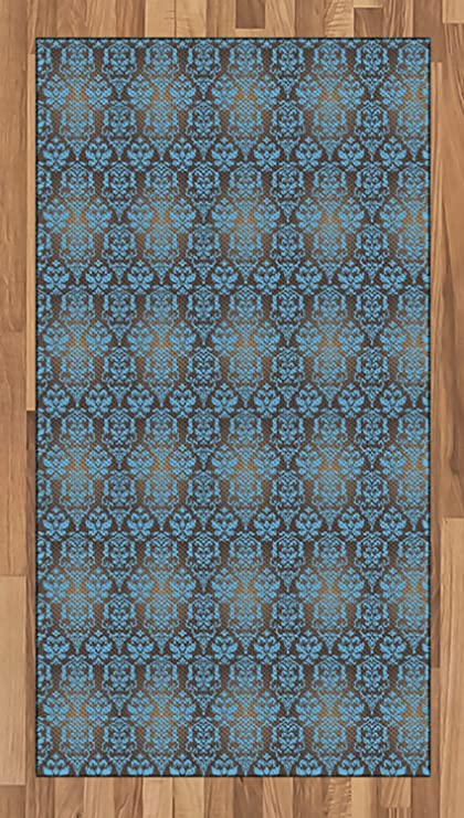 Ambesonne Brown And Blue Area Rug, Ancient Damask Motifs With Grandiloquent  Baroque Curls Bulky Leaves