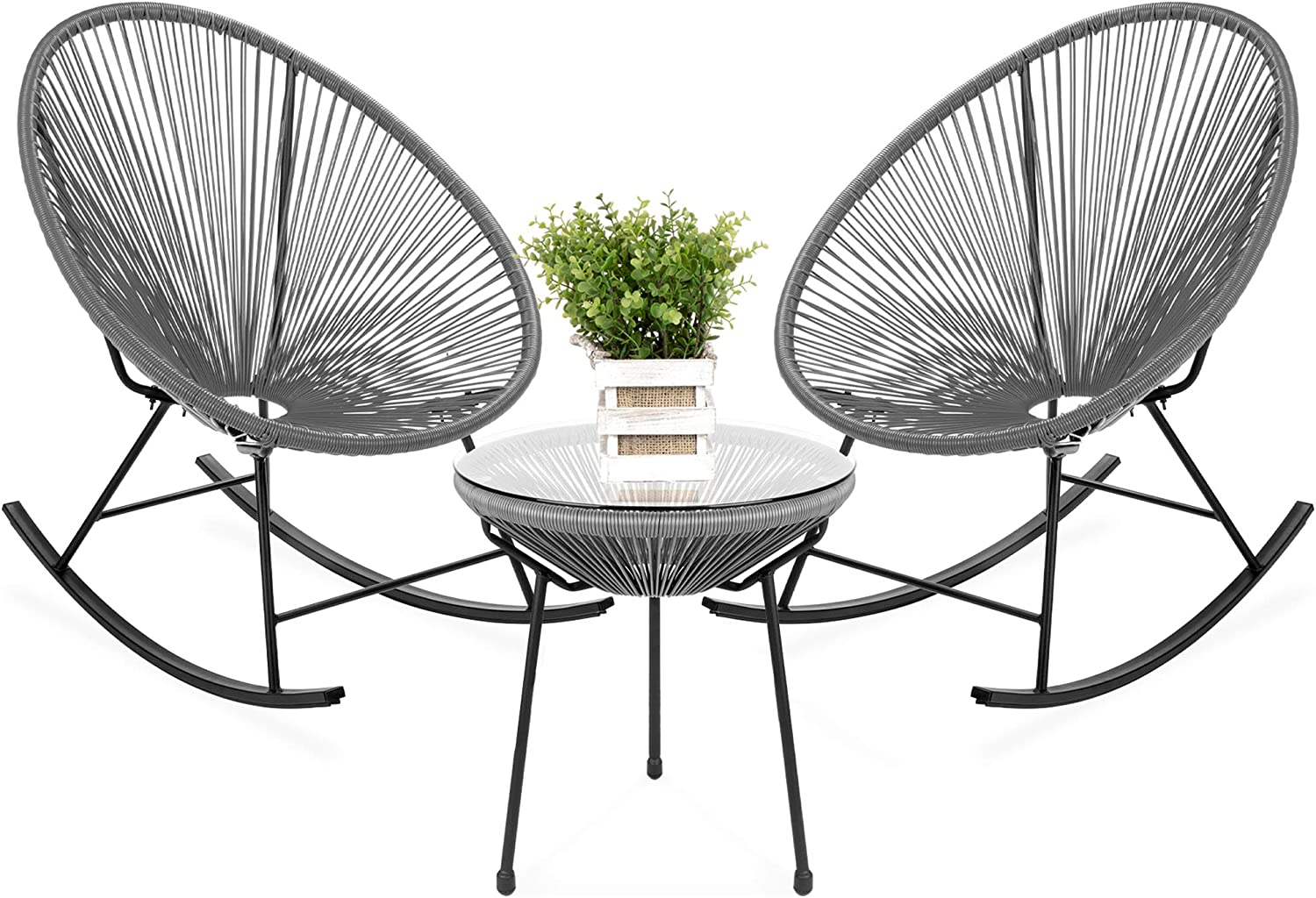 Amazon Com Best Choice Products 3 Piece Outdoor Acapulco All Weather Woven Rope Patio Conversation Bistro Set W Glass Top Table And 2 Rocking Chairs Gray Garden Outdoor