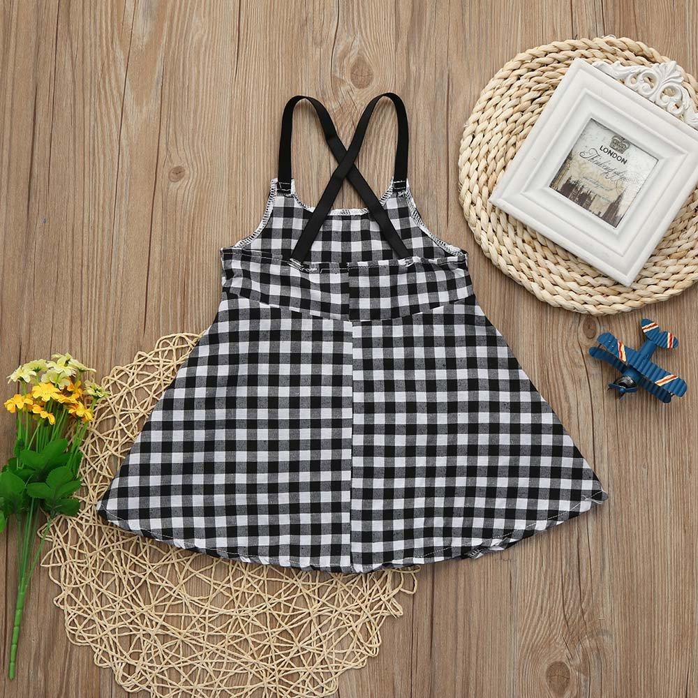 Dream Room Dresses Toddler Girls Princess Plaid Strap Dress Kids Baby Sleeveless Dresses Outfits