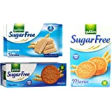 Sugar Free Cookie Biscuits Selection 3 Boxes Vanilla Wafers, Digestives, Maria. Gullon Set 2