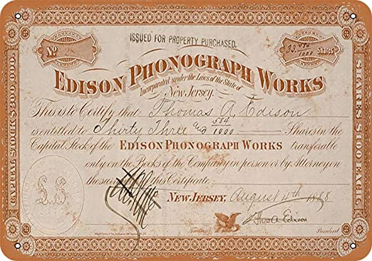 United Printers /& Publishers Incorporated Stock Certificate Rust Craft Cards