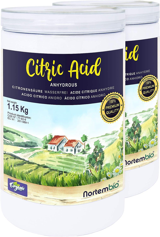 NortemBio Ácido Cítrico 2x1,15 Kg. Polvo Anhidro, 100% Puro. para Producción Ecológica. E-Book Incluido.