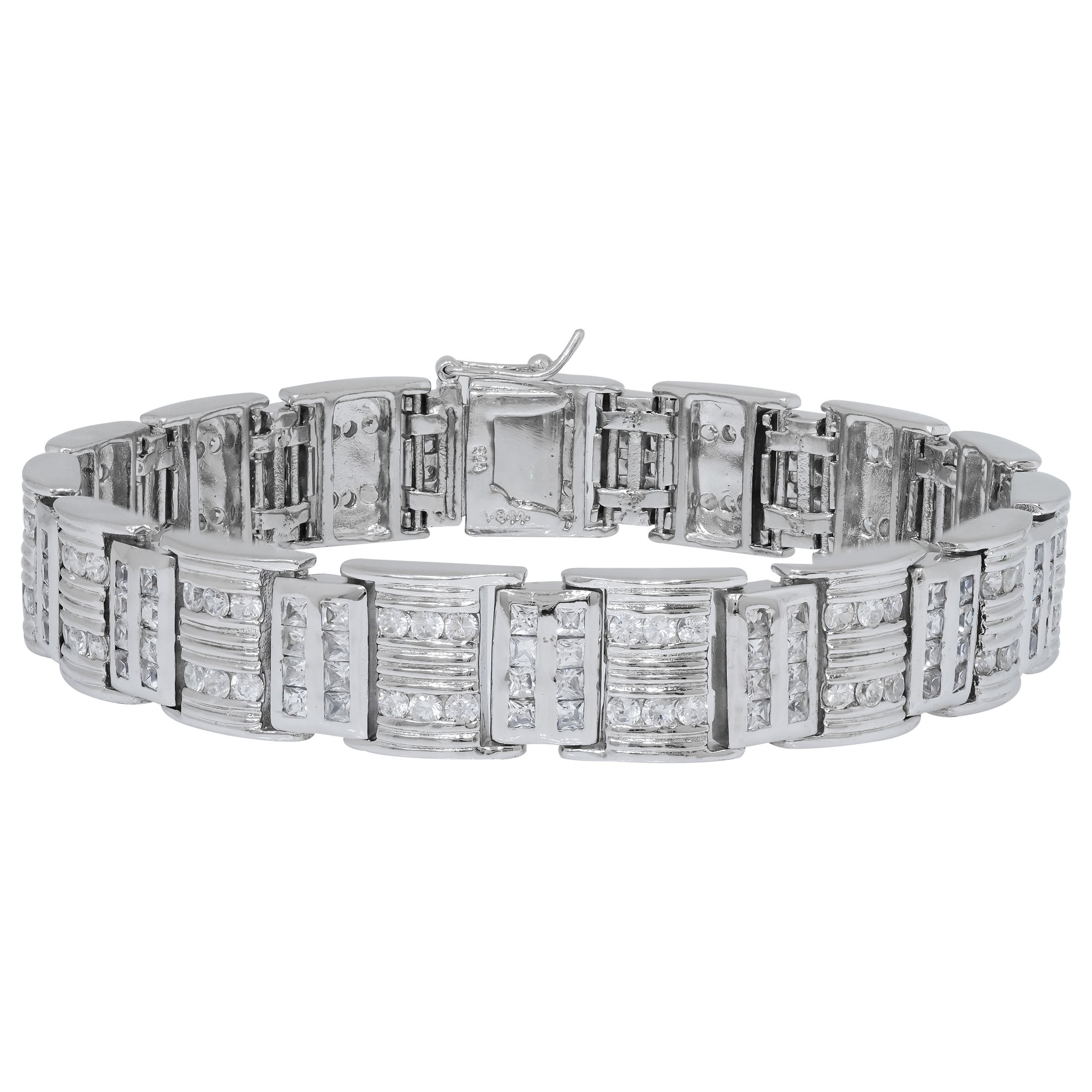 Men's Fancy Sterling Silver .925 Bracelet with Channel-Set Princess and Round Cubic Zirconia (CZ) Stones, Box Lock, Platinum Plated. Sizes 8'' 9''. By Sterling Manufacturers (8.00)