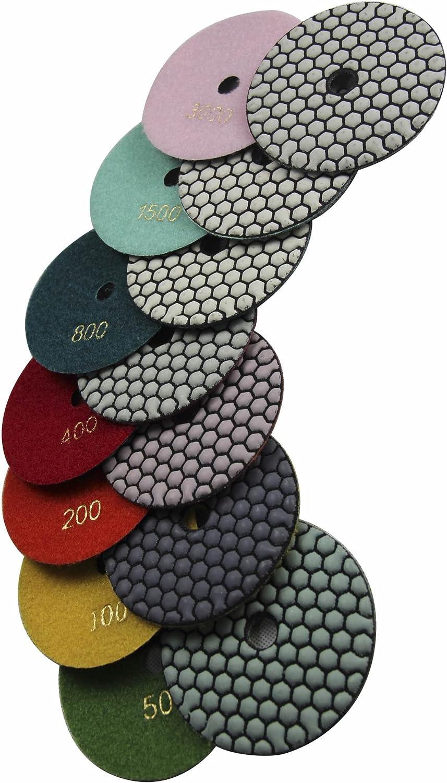 "Konfor 4"" Dry/Wet Diamond Polishing Pads 7 Pieces for Granite Marble Concrete Stone Repair"