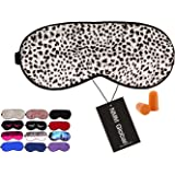 NMM Global 100% Mulberry Silk Sleep Mask, Natural Sleeping Mask for Men Women & Kids, Super Soft Eye Mask for Sleeping with Free Ear Plugs(Leopard White)