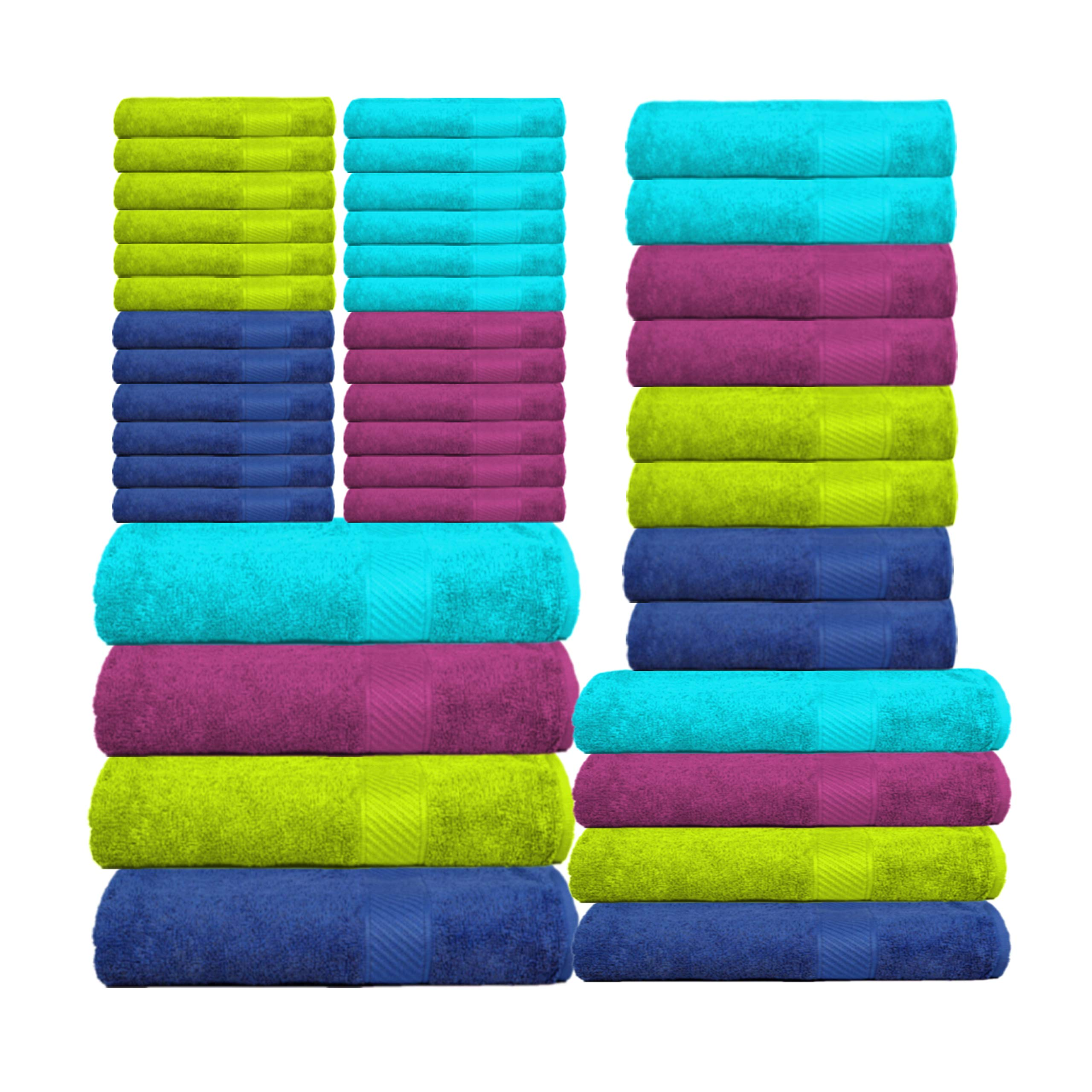 CASA COPENHAGEN Premium Towels, 40 Piece Towel Set (Teal. Purple, Green, Blue) - 8 Bath Towels(M,L), 8 Hand Towels and 24 Washcloths - Cotton - Hotel Quality - Super Soft - Highly Absorbent -