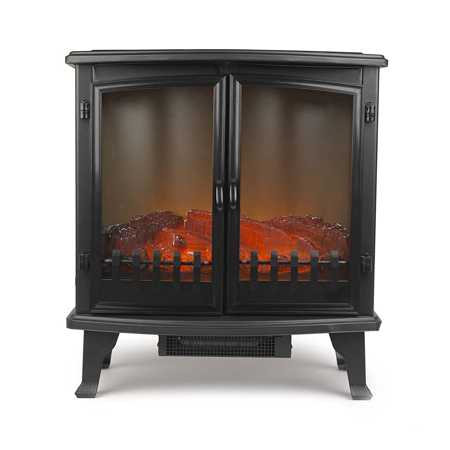 Beldray EH1363GSAR Paguera Glass Sided Free Standing Electric Stove with LED Flame Effect, 1800 W