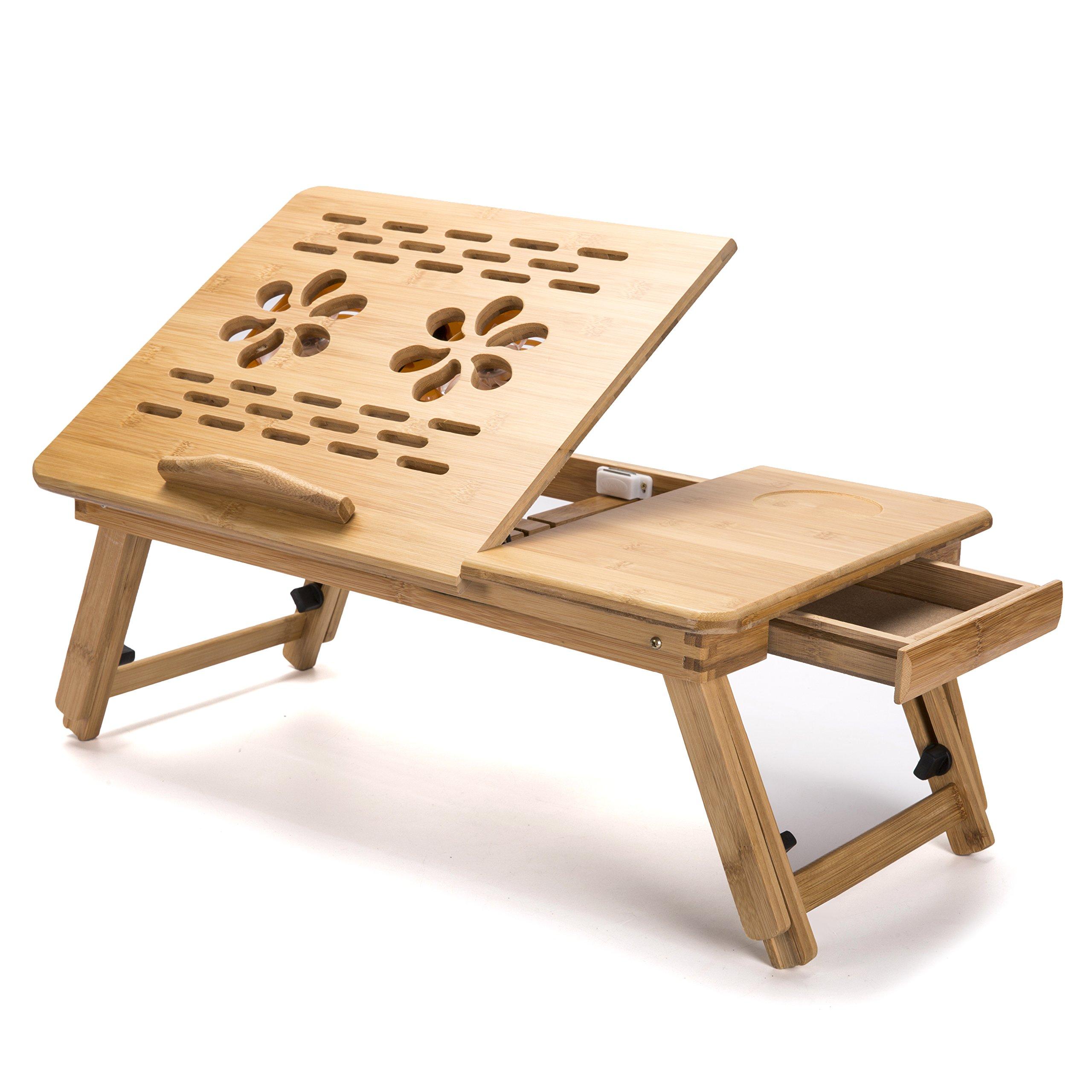 Laptop Desk Adjustable Legs Laptop Desk Table 100% Bamboo with USB Fan Foldable Breakfast Serving Bed Tray