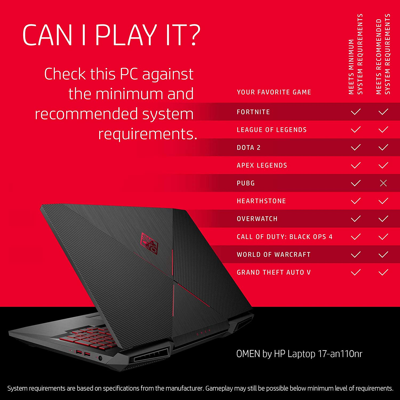 Omen by HP 17-Inch Gaming Laptop, Intel Core i7-8750H Processor, NVIDIA GeForce GTX 1050 Ti 4 GB, 12 GB RAM, 1 TB Hard Drive and 128 GB SSD, Windows ...