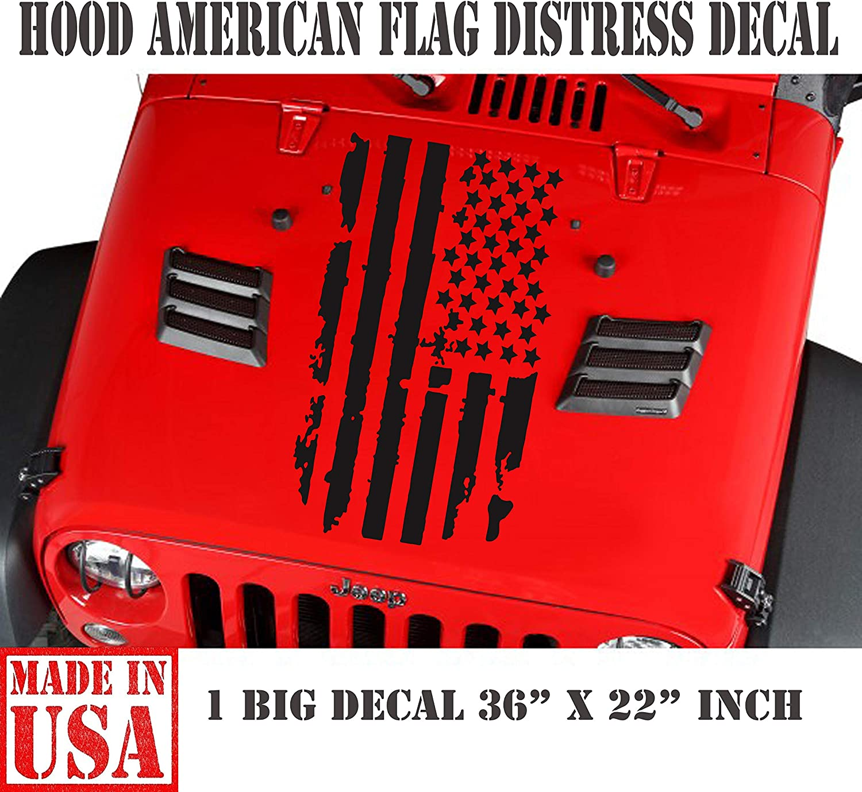 Fits any hood Distressed USA flag Jeep wrangler Hood decal vinyl sticker