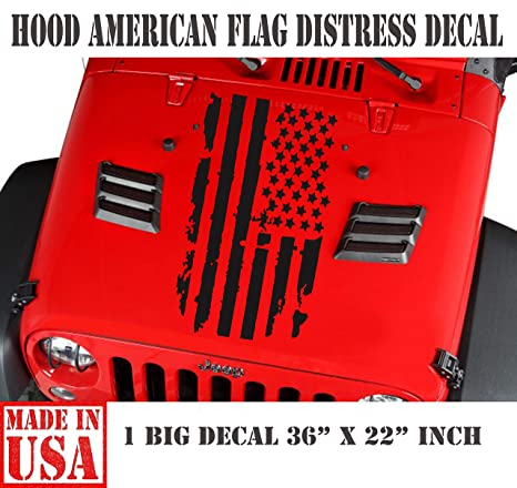 Amazon com: USAFL Distressed American Flag Truck Hood Vinyl