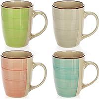 COM-FOUR® 4x Taza de café de cerámica - Taza de café de diseño moderno - Tazas para bebidas frías y calientes - 260 ml…