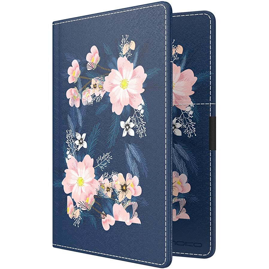 MoKo RFID Blocking Passport Holder Wallet, Multi-purpose Passport Cover Premium PU Leather Travel Wallet Case Cover - Night Blossom