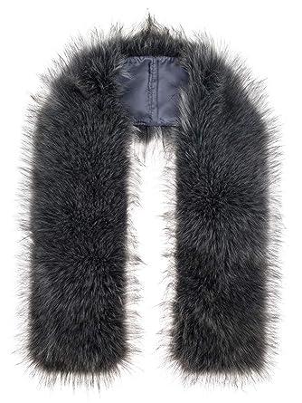 Futrzane Bufanda Cuello Mujer Bufanda de Piel de Zorro Sintética (Acero)