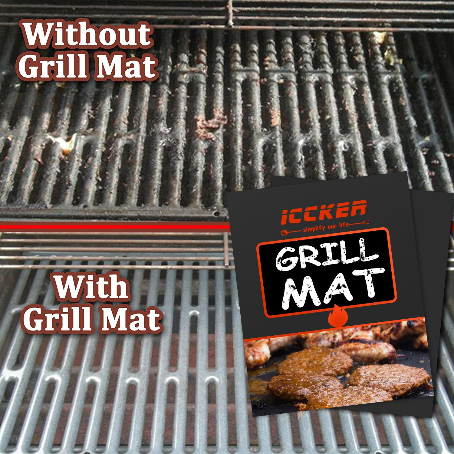 RWM ICCKER Grill Mat - Extra Thick 0.39mm Heavy Duty 600 Degree Non Stick Reusable BBQ Baking Mats 15.75 x 13 in(Set of 3),Dishwasher Safe,FDA Approved